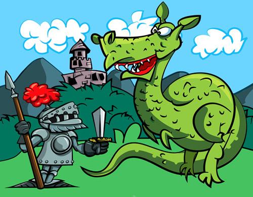 Cartoon of a knight facing a fierce dragon