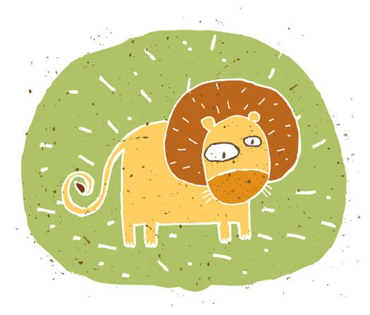 Hand drawn grunge illustration of cute lion on background