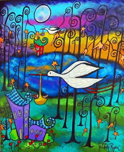 A-Gift-At-Sunset Stork by Juli Cady Ryan