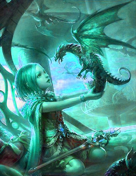 Littl girl dragon and sword